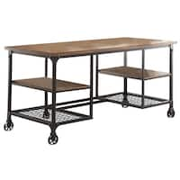 Industrial Style Metallic Writing Desk With Wooden Top And Shelves, Brown, Black