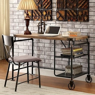 Industrial Metal Writing Desk With Wooden Top, Brown and Black