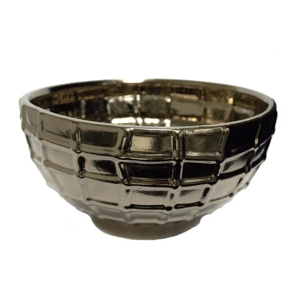 Beautifully Designed Ceramic Decorative Bowl, Bronze