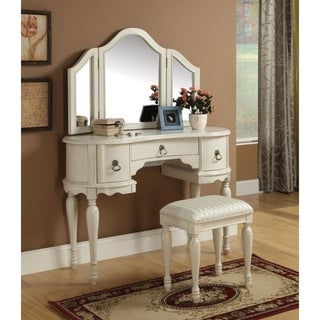 Wooden Vanity Desk with 3 Drawers & Stool, White