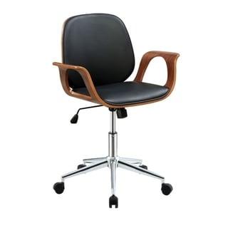 Metal & Wooden Office Arm Chair, Black & Walnut Brown
