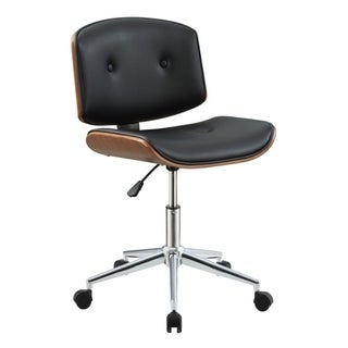 Metal & Wooden Office Armless Chair, Black & Walnut Brown