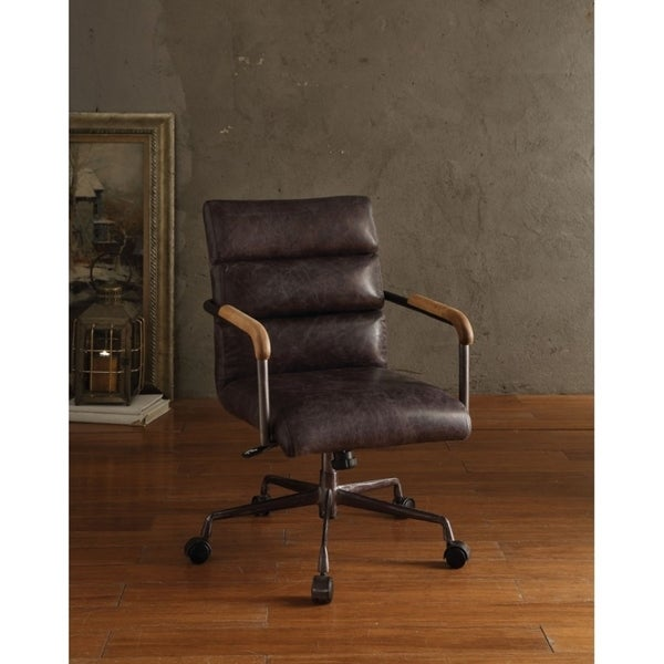 Metal Leather Executive Office Chair Antique Brown