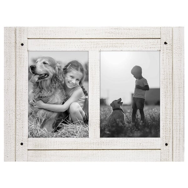 Americanflat 5x7 Aspen White Collage Distressed Wood Frame - Made to Display Two 5x7 Photos