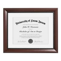 11x14 Mahogany Document Frame - Made to Display Certificates 8.5x11 inch with Mat and 11x14 inch without Mat
