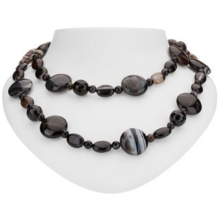 """Tara Mesa Sterling Silver 35"""" Tuxedo Agate and Black Onyx Beaded Necklace"""