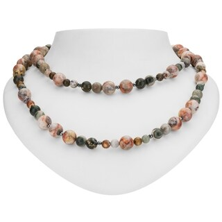 "Tara Mesa Sterling Silver 35"" Ocean Jasper and Hematite Beaded Necklace"