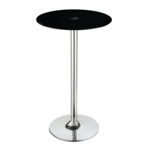 Contemporary bar table with tempered glass top and chrome base, Black