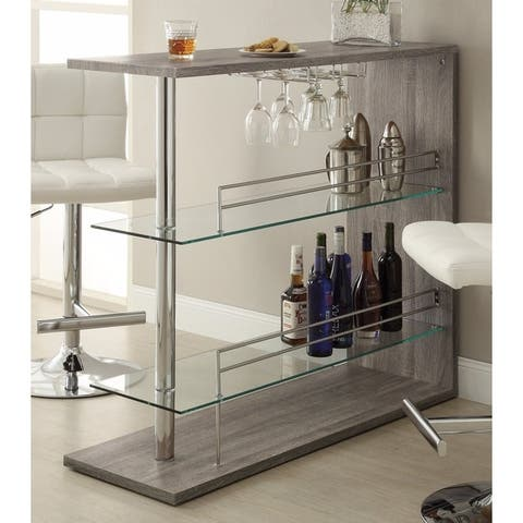 Radiant Rectangular Bar Table with 2 Shelves and Wine Holder, Gray