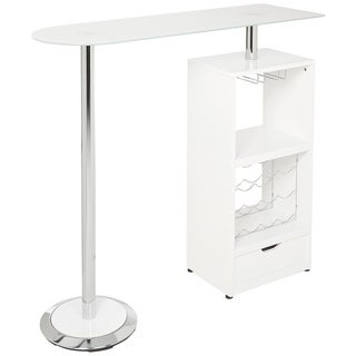 Spacious White Bar Table with functional Storage