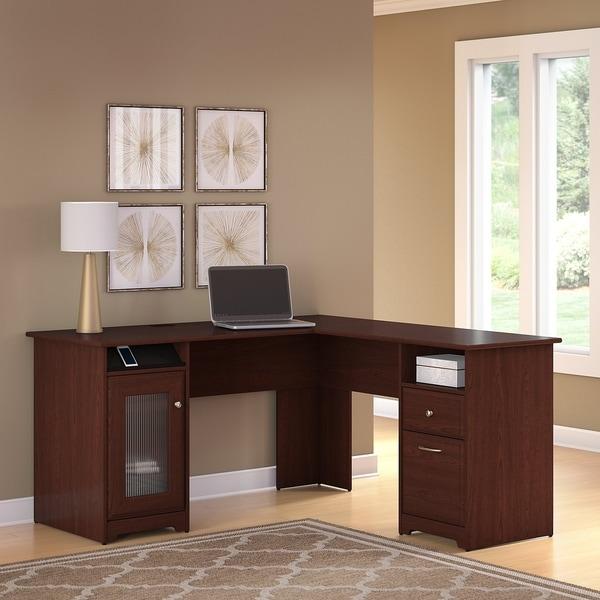 Copper Grove Burgas L-shaped Computer Desk in Harvest Cherry