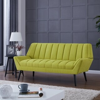 Palm Canyon Olivos Mid-Century Modern Green Velvet Sofa