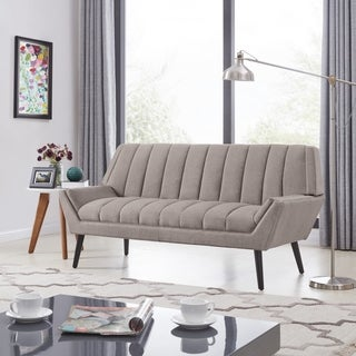 Handy Living Rochelle Mid Century Modern Smoke Grey Velvet Sofa