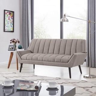 Handy Living Rochelle Mid-Century Modern Smoke Grey Velvet Sofa