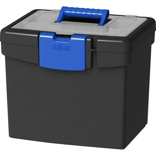 Storex File Storage Box, with XL Storage Lid, Black/Blue, 2-Pack