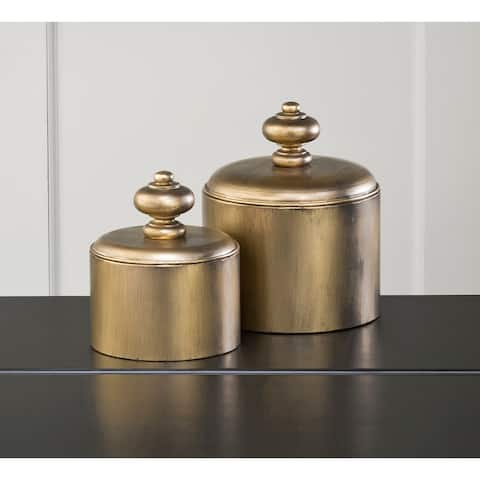 Metal Contemporary Canisters- Set of 2