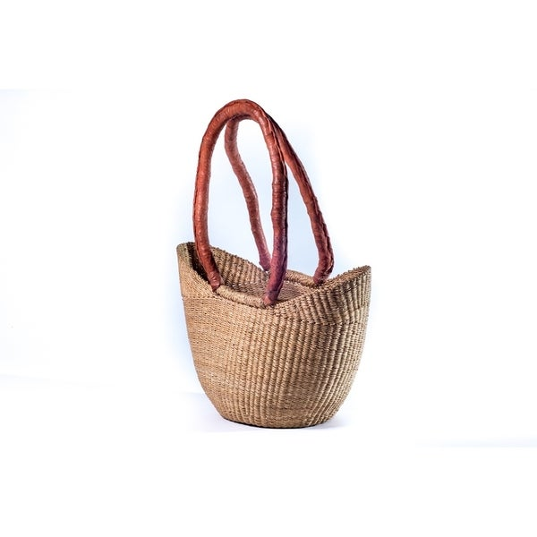 Handmade Y shaped small basket with brown leather handle(Ghana)