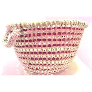 Handmade round basket with fiber and cotton pink and white (Lesotho)