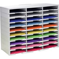 Storex Modular 30-Compartment Literature Organizer /Gray or Black