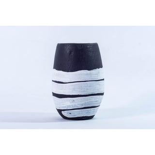 Handmade, handthrown terra cotta black and white vase (Ghana)
