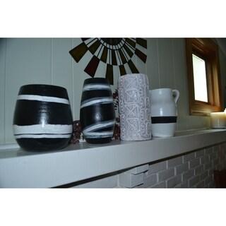 Handmade, handthrown terra cotta white vase (Ghana)