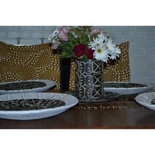 Handmade, handthrown relief ceramic plate with Ashanti symbols (Ghana)