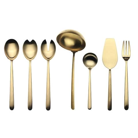 Stainless Steel w/PVD Titanium Coating 7-piece Linea Ice Oro Full Serving Set