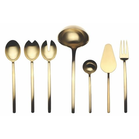 Stainless Steel w/PVD Titanium Coating 7-piece Due Ice Oro Full Serving Set