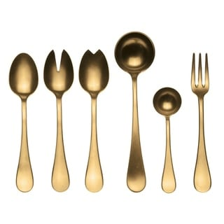 Stainless Steel w/PVD Titanium Coating 7-piece Vintage Oro Full Serving Set