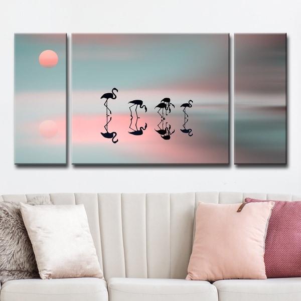 Ready2HangArt 'Family Flamingos' 3-Pc Canvas Wall Décor Set - Pink