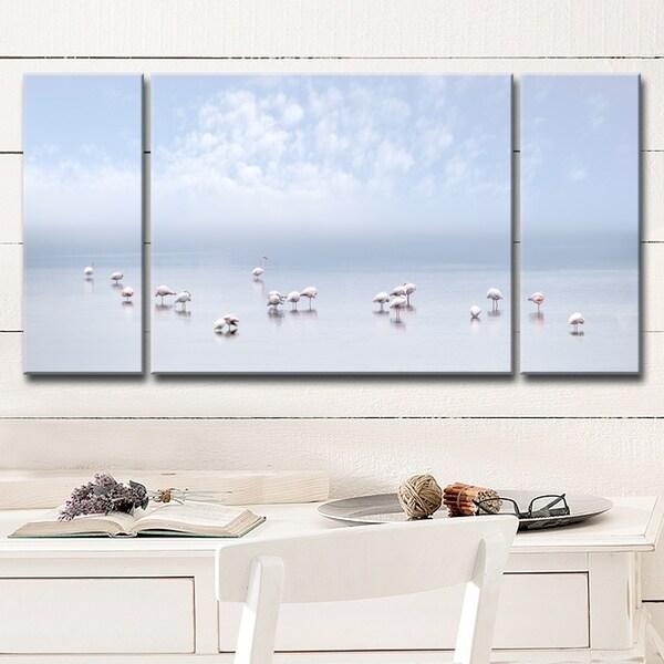 Ready2HangArt 'Flamingos I' 3-Pc Canvas Wall Décor Set - Blue