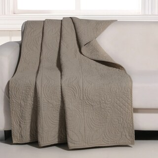 Greenland Home Lucinda Taupe Quilted Cotton Throw