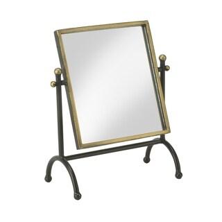 Square Mirror in Antique Brass Frame - Antique Black/antiqued gold with black wash