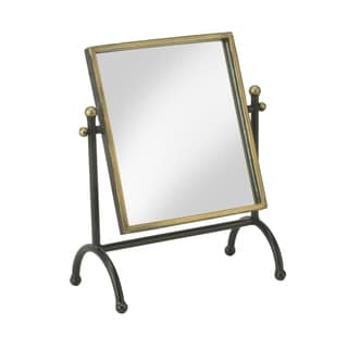 Square Tabletop Mirror - Antique Black/antiqued gold with black wash