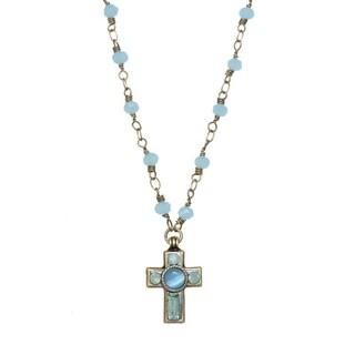 Handmade Sky Blue Cross Necklace (USA) by Michal Golan