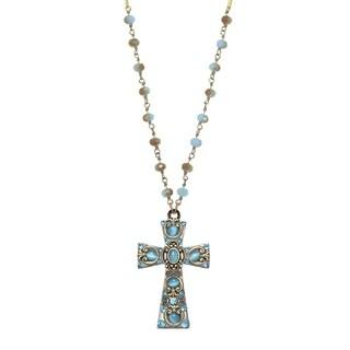 Handmade Medium Sky Blue Cross Necklace (USA) by Michal Golan