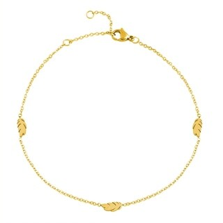 Edforce Stainless Steel 3 Feather Pendant Anklet