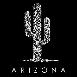 LA Pop Art Women's Raglan Baseball Word Art T-shirt - Arizona Cities