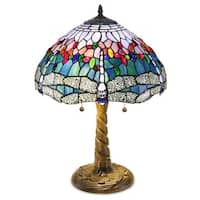 Tiffany-style Bronze Blue Zinc Glass Dragonfly Table Lamp