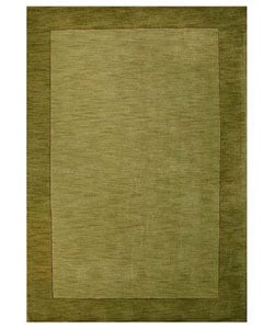 Hand-tufted Olive Green Border Wool Rug - 5' x 8' - Thumbnail 0