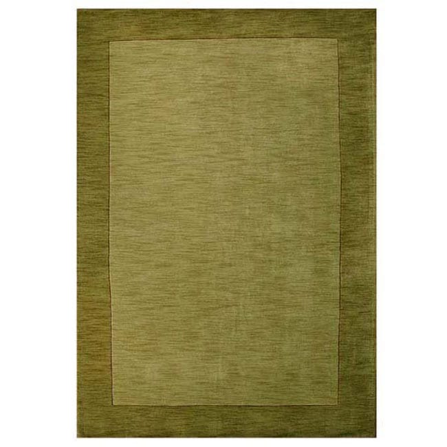 Hand Tufted Olive Green Border Wool Rug 8 X 10 6 8 X