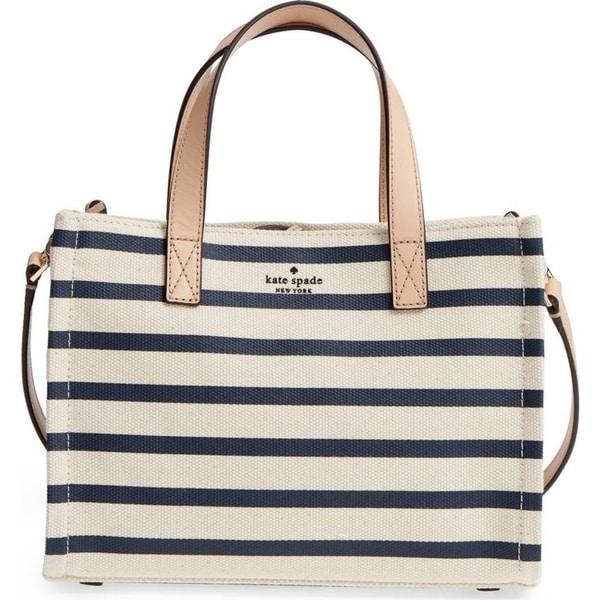 Kate Spade Washington Square Sam Canvas Rich Navy Stripe Handbag