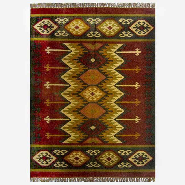 Hand-woven Kilim Burgundy Jute/ Wool Rug (5' x 8')