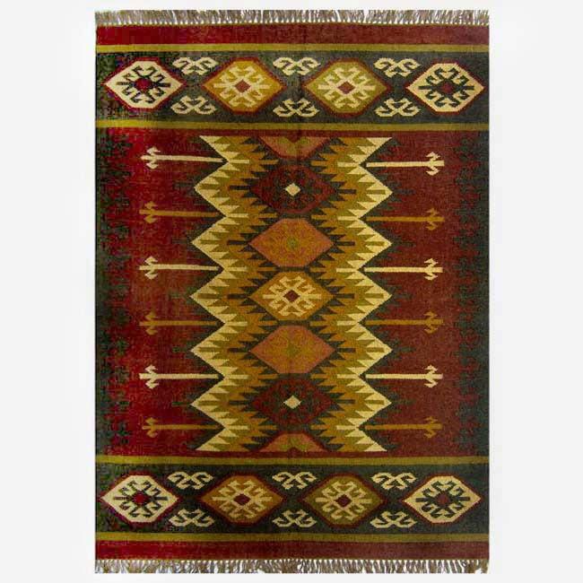 Hand-woven Kilim Burgundy Jute/ Wool Rug (8' x 10')