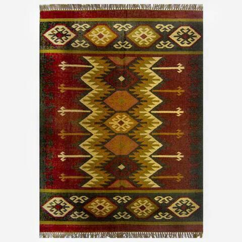 Hand-woven Kilim Burgundy Jute/ Wool Rug (8' x 10') - 8' x 10'