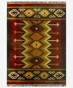 Hand-woven Kilim Burgundy Jute/ Wool Rug (8' x 10') - 8' x 10' - Thumbnail 0