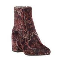 Women's Lucky Brand Rainns Block Heel Ankle Boot Black Multi Printed Velvet