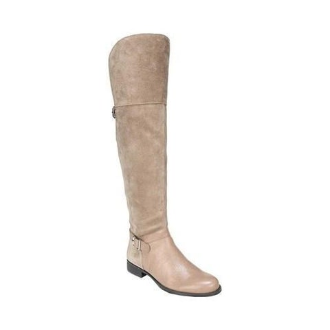 Women's Naturalizer January Over-The-Knee Riding Boot Beige Leather/Suede