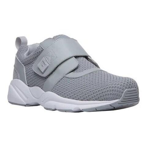 Men's Propet Stability X Hook and Loop Sneaker Light Grey Mesh