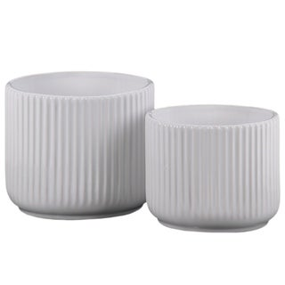 UTC11444: Ceramic Round Pot with Ribbed Design Body and Tapered Bottom Set of Two Gloss Finish White